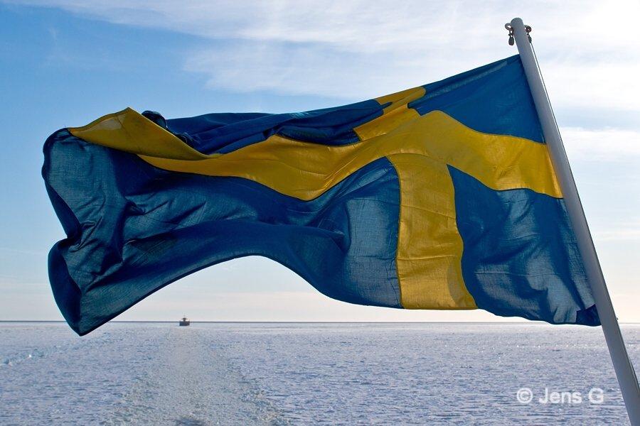 Svensk flag over frosset hav